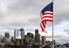 Stars and Stripes over Seattle Royalty Free Stock Photography