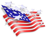 Stars and Stripes Patriotic Background. 3 Dimensional abstract illustration of Stars and Stripes for patriotic background for 4th of July, Memorial, labor Royalty Free Stock Images