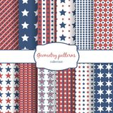 Stars and stripes pattern seamless patterns set Royalty Free Stock Images