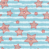 Stars and stripes seamless texture for wraping paper, backgrounds and textile, candy and sea colors Stock Photo
