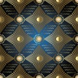 Stars and sun seamless pattern.Greek geometric background. Stars and sun seamless pattern. Geometric blue background wallpaper  with radial gold stars, 3d sun Royalty Free Stock Photos