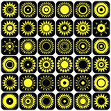 Stars and suns abstract icons. Design elements set. Royalty Free Stock Image