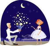 Stars for sweetheart. Vector illustration of a guy gifting stars from sky to his sweetheart stock illustration