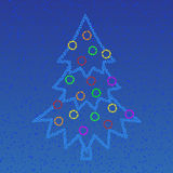 Stars tree. Night sky with stars and christmas tree Stock Photo
