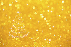 Stars Tree on Gold Defocused Background. Working Stock Photography