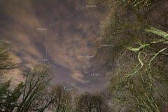 Stars triangle and hexagon in winter season. Winter triangle and hexagon from constellation Orion, Geminids, Auriga, Canis Minoris and Sririus star Stock Photo