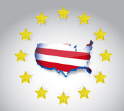 Stars and us flag map illustration design over Royalty Free Stock Images