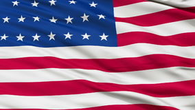 25 Stars USA Close Up Waving Flag. 25 Stars United States of America Flag, Close Up Realistic 3D Animation, Seamless Loop - 10 Seconds Long stock video