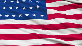 26 Stars USA Close Up Waving Flag. 26 Stars United States of America Flag, Close Up Realistic 3D Animation, Seamless Loop - 10 Seconds Long stock footage
