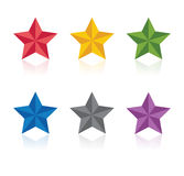 Stars. Vector illustration. Colorful beveled stars  on white background. Vector illustration Royalty Free Stock Images