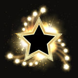Stars vector sparkling gold background design with star frame. Golden star sparkle, shine and glitter christmas illustration Stock Photography