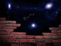 Stars view. Parapet wall with beautiful stars of outerspace in darkness sky Royalty Free Stock Images
