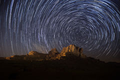 Stars. Wadi Rum sky, stars and stripes royalty free stock photo