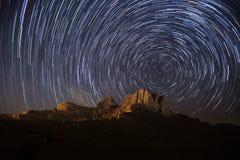 Stars. Wadi Rum sky, stars and stripes Royalty Free Stock Photo