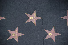 Stars at Walk of Fame in Hollywood, California Royalty Free Stock Photos