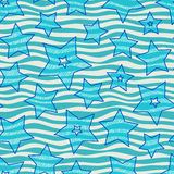 Stars and waves seamless pattern for wraping paper, backgrouns and textile, bright holiday colors Stock Image