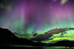 Stars in Whistler with Aurora Borealis. Nighttime shot in Whistler of British Columbia, Aurora Borealis, Night, shooting, lake, mountains