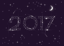 2017 stars year. Happy New Year greeting card. 2017 numbers in the night sky made of stars Stock Images