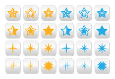 Stars yellow and blue stars buttons set Stock Images