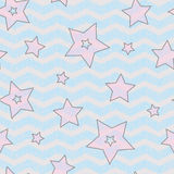 Stars and zigzad seamless texture for wraping paper, backgrouns and textile Stock Photo
