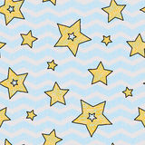 Stars and zigzad seamless texture for wraping paper, backgrouns and textile Royalty Free Stock Photos