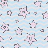 Stars and zigzad seamless texture for wraping paper, backgrouns and textile Stock Images