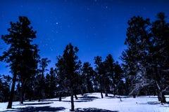 Starscape éclairé par la lune sur le paysage de neige Image libre de droits