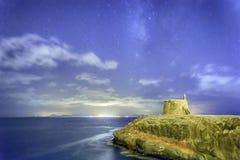 Starscape -兰萨罗特岛Playa布朗卡西班牙天空每t夜 免版税库存照片