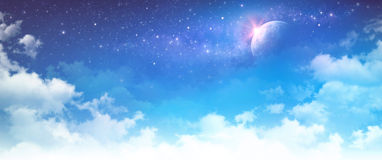 Starscape. High resolution cloudy sky background. Star field and planet in deep space royalty free illustration