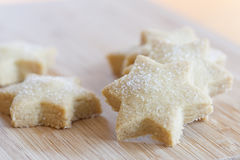Starshaped Christmas Cookies With Sugar Stock Photos