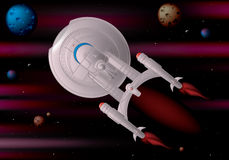 Starship. Star ship exploring deep space, layered and grouped illustration for easy editing Royalty Free Stock Photos
