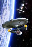 Starship Crossbow class and space station. 3D render science fiction illustration Royalty Free Stock Images