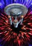 Starship Enterprise warp. 3D render science fiction illustration royalty free illustration