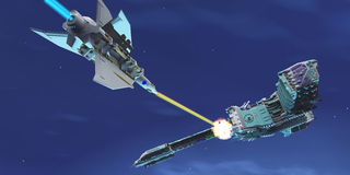 Starship Fight. A battle ensues as a fighter spacecraft blasts a large enemy battleship with a laser beam Royalty Free Stock Images