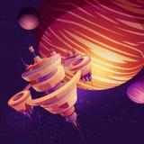 Starship futurista, vector de la historieta de la estación espacial stock de ilustración