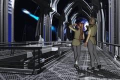 Starship observation deck. Uniformed couple on the observation deck of a starship gazing at a passing comet Stock Image