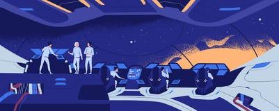 Starship, starcraft, międzygwiazdowi członkowie, statku kosmicznego, statku kosmicznego lub załogi royalty ilustracja