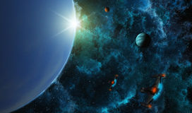 Starships in Deep Space. This image shows planets with stars and star-ships royalty free illustration