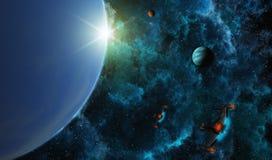 Starships in Diepe Ruimte Royalty-vrije Stock Foto's