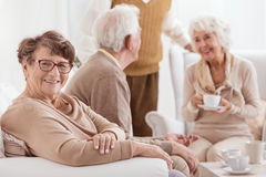 Starsi ludzi wydaje czas wpólnie obraz stock