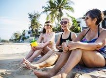 Starsi przyjaciele cieszy się plażę w lecie obraz stock