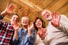 Starsi przyjaciele z poroże kapitałkami przy Bożenarodzeniowym czasem zdjęcia stock