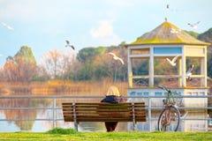 Starsza dama na ławce jeziornym Torre Del Lago Puccini zdjęcia stock