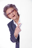 Starsza dama z białym sztandarem Fotografia Stock