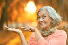 starsza kobieta chodząca Zdjęcie Stock