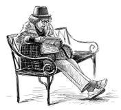 Starsza kobieta na parkowej ławce royalty ilustracja