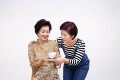 Starsza kobieta pije herbaty z jej córką bierze opiekę zdjęcia stock