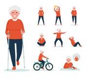 Starsza kobieta robi ćwiczeniom na sporta boisku w parku Aktywny sporta pojęcia set Kreskówki mieszkania styl fotografia stock