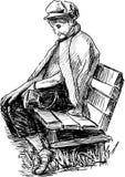 Starsza kobieta uśpiona na ławce Zdjęcia Royalty Free