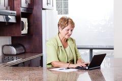 Starsza kobiety internetów bankowość obraz royalty free